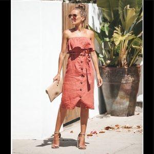 NWT VICI Button Down Strapless Linen Dress